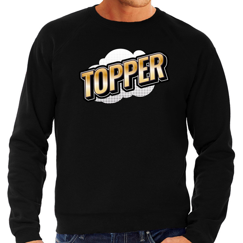 Topper fun tekst sweater voor heren zwart in 3D effect