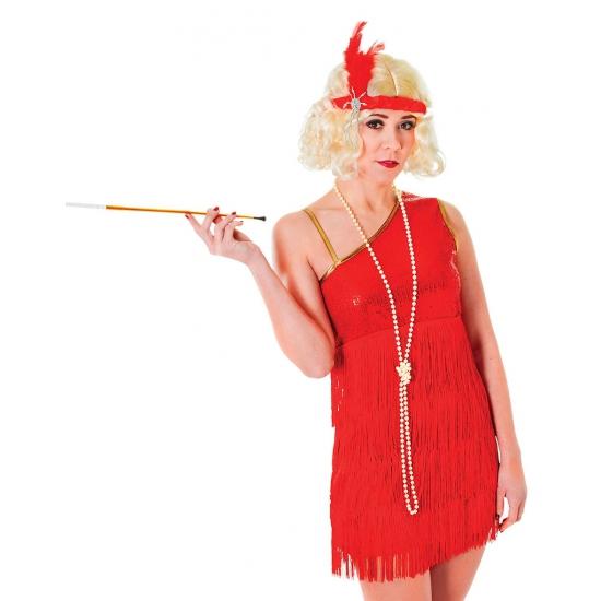 Toppers - Jaren 20 glamour jurk rood