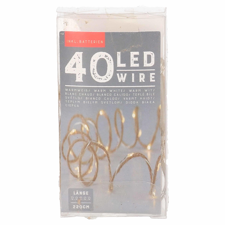Touwverlichting jute op batterijen met 40 lampjes warm wit 220 cm