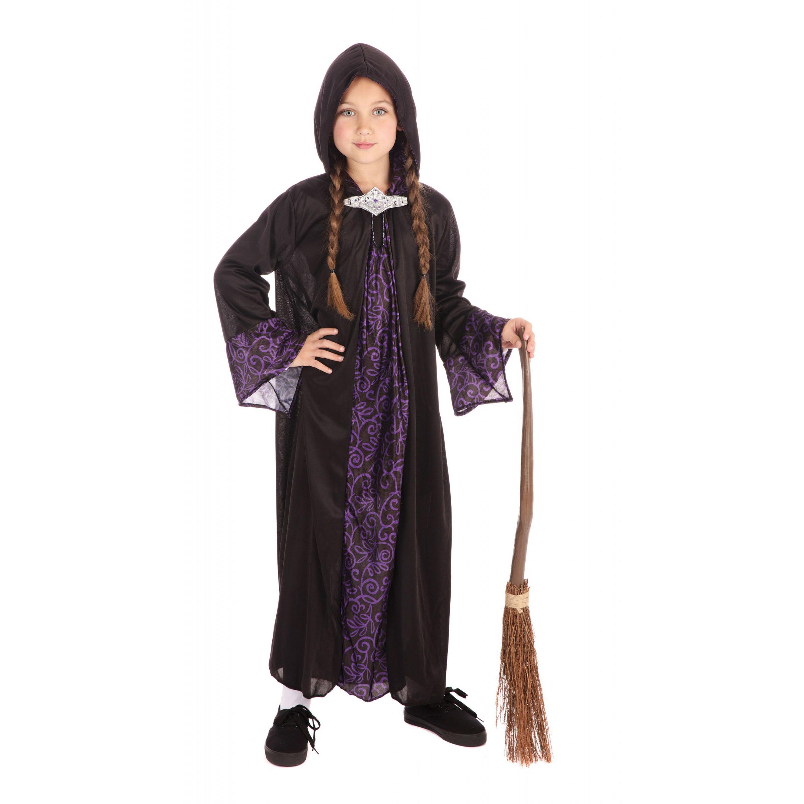Merkloos Tovenaar cape kinderen/Halloween verkleedkleding zwart/paars voor kids