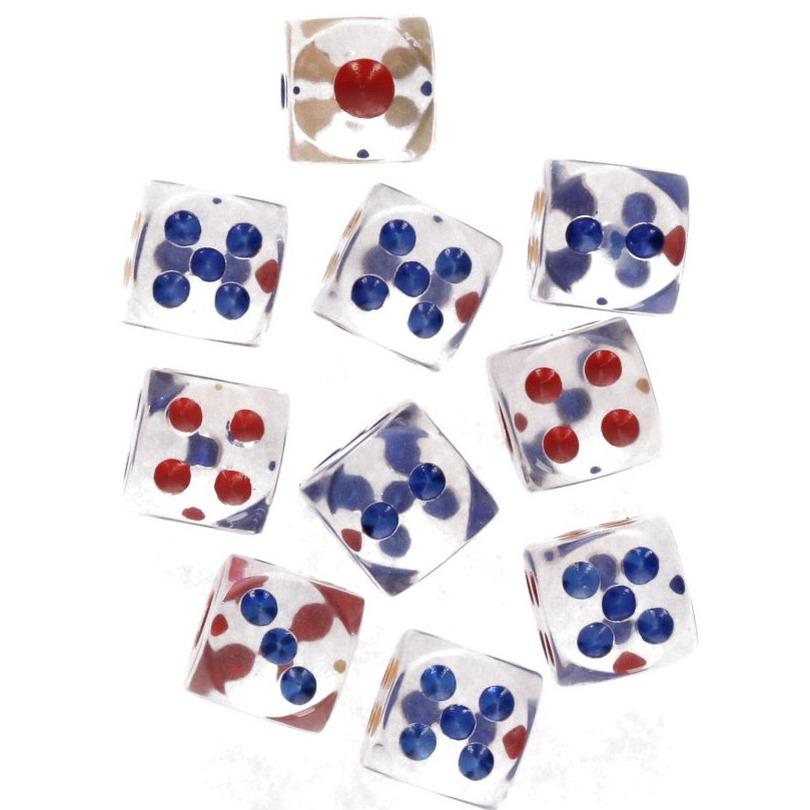 Transparante dobbelstenen op kaart 10 stuks