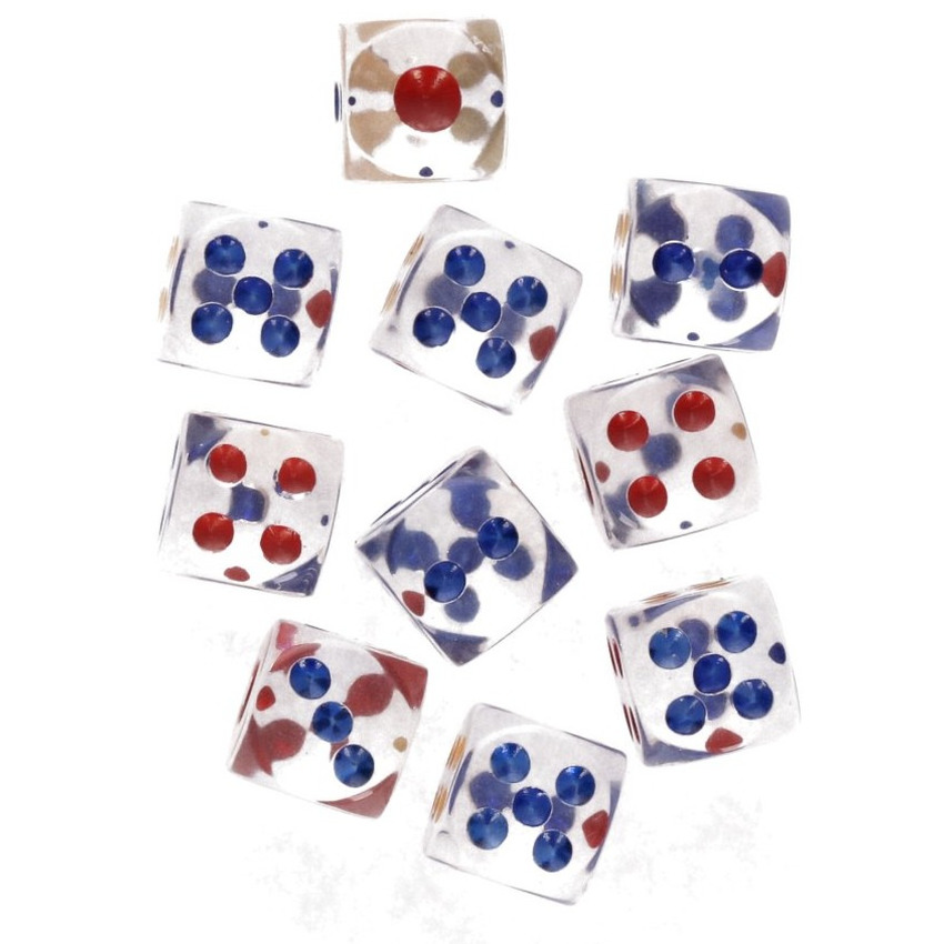 Transparante dobbelstenen op kaart 30 stuks