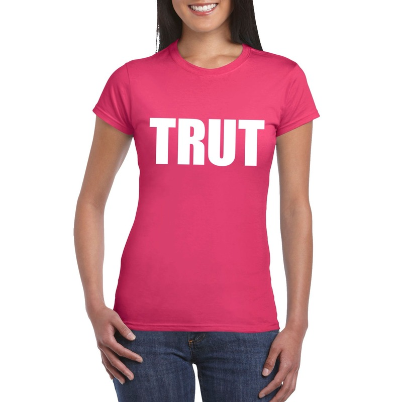 Trut tekst t-shirt roze dames