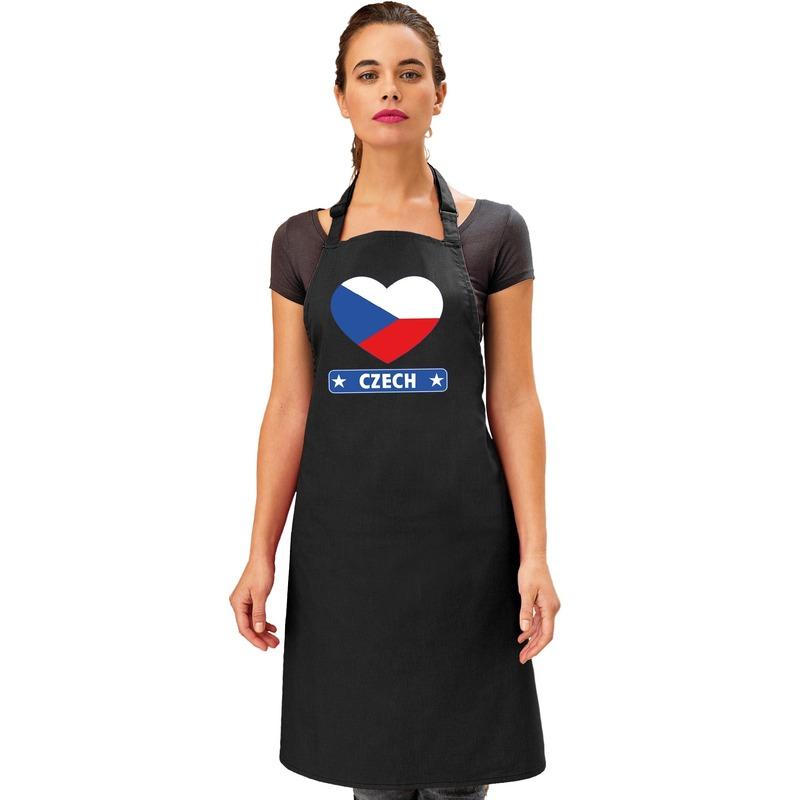 Tsjechie hart vlag barbecueschort/ keukenschort zwart Zwart