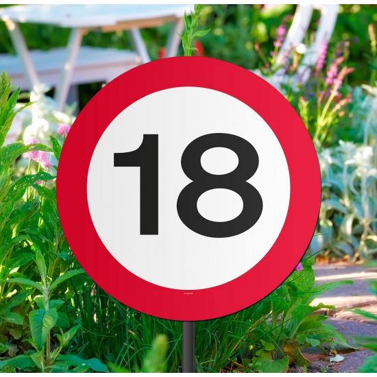 Tuin decoratieborden 18 jaar verjaardag van karton 26 cm