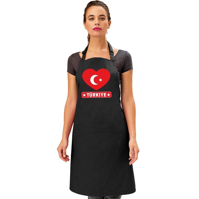 Turkije hart vlag barbecueschort/ keukenschort zwart Zwart