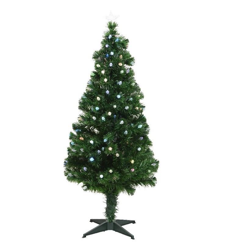Tweedekans glasvezel kunstkerstboom 120 cm met verlichting