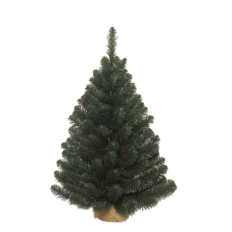Tweedekans groene Alpine kerstboom/kunst kerstboom met jute voet 90 cm
