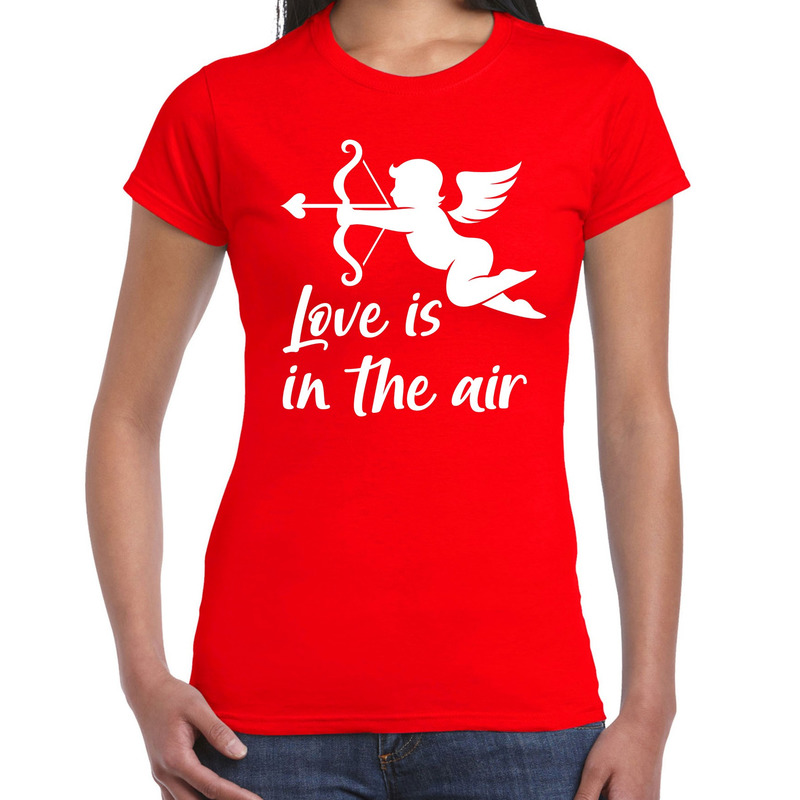 Valentijn/Cupido love is in the air t-shirt rood voor dames