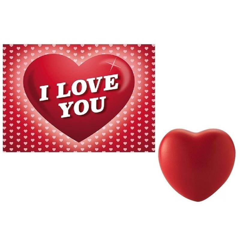 Valentijnsdag cadeau hartvormige stressbal met valentijnskaart