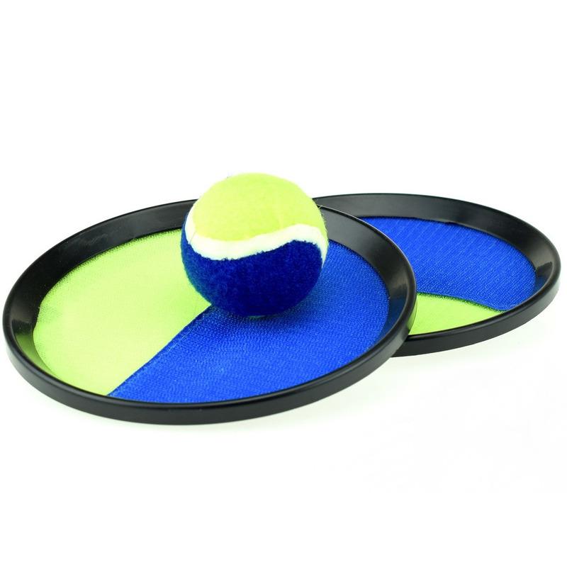 Vangbalspel met klittenband blauw/geel 18 cm