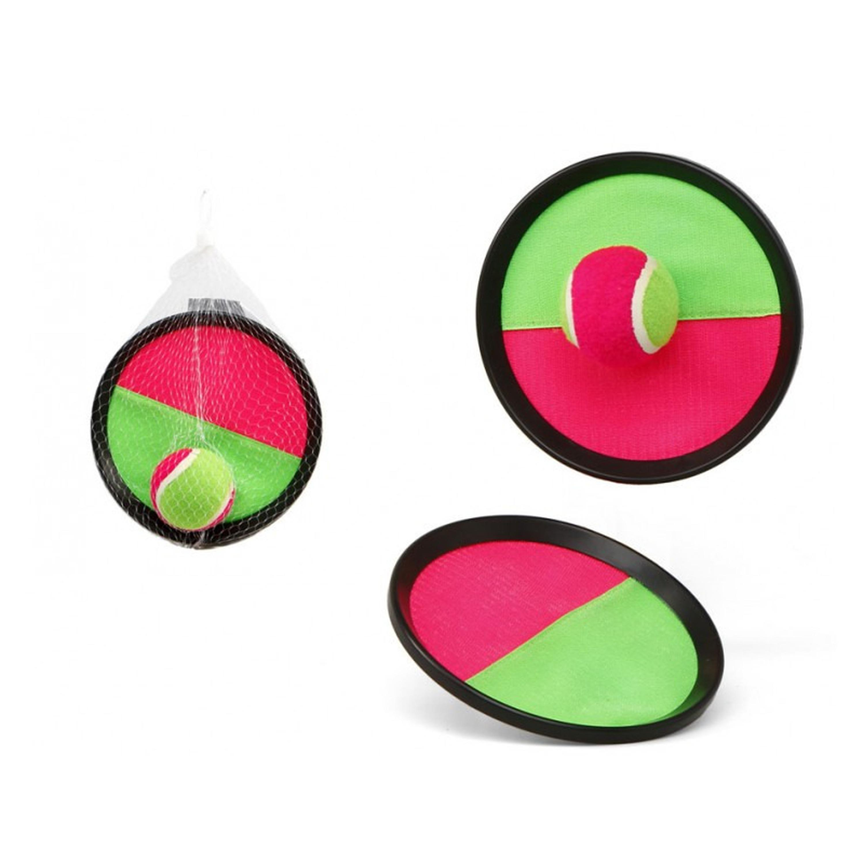 Vangbalspel met klittenband roze/groen 19 cm
