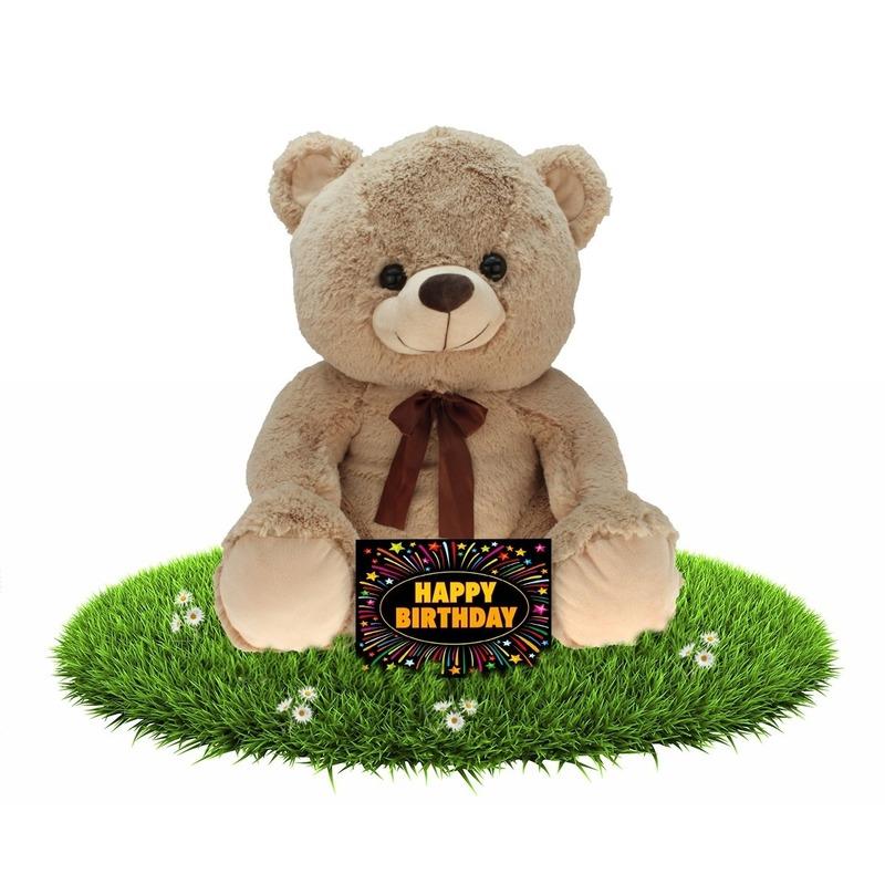 Verjaardag knuffel beer beige 75 cm + gratis verjaardagskaart Multi