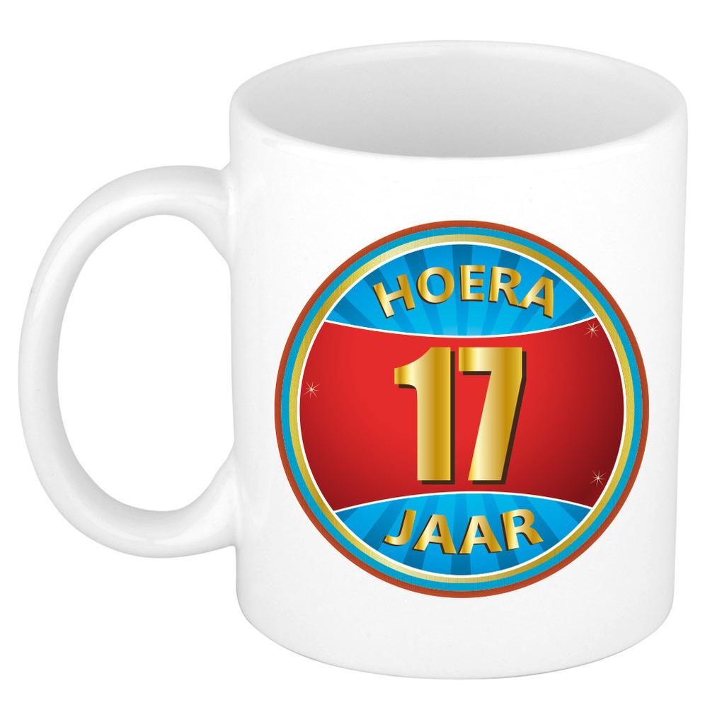 Verjaardag mok beker hoera 17 jaar verjaardagscadeau