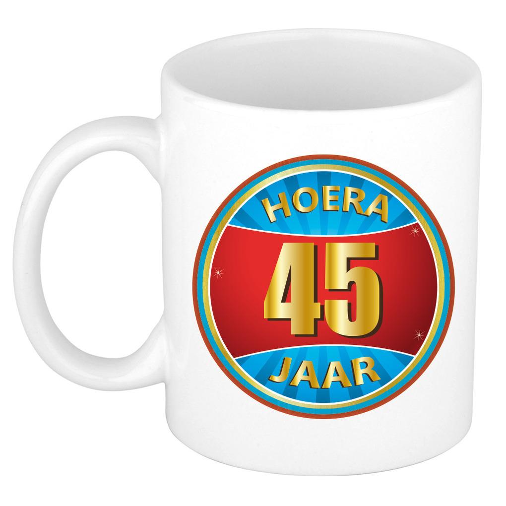Verjaardag mok beker hoera 45 jaar verjaardagscadeau