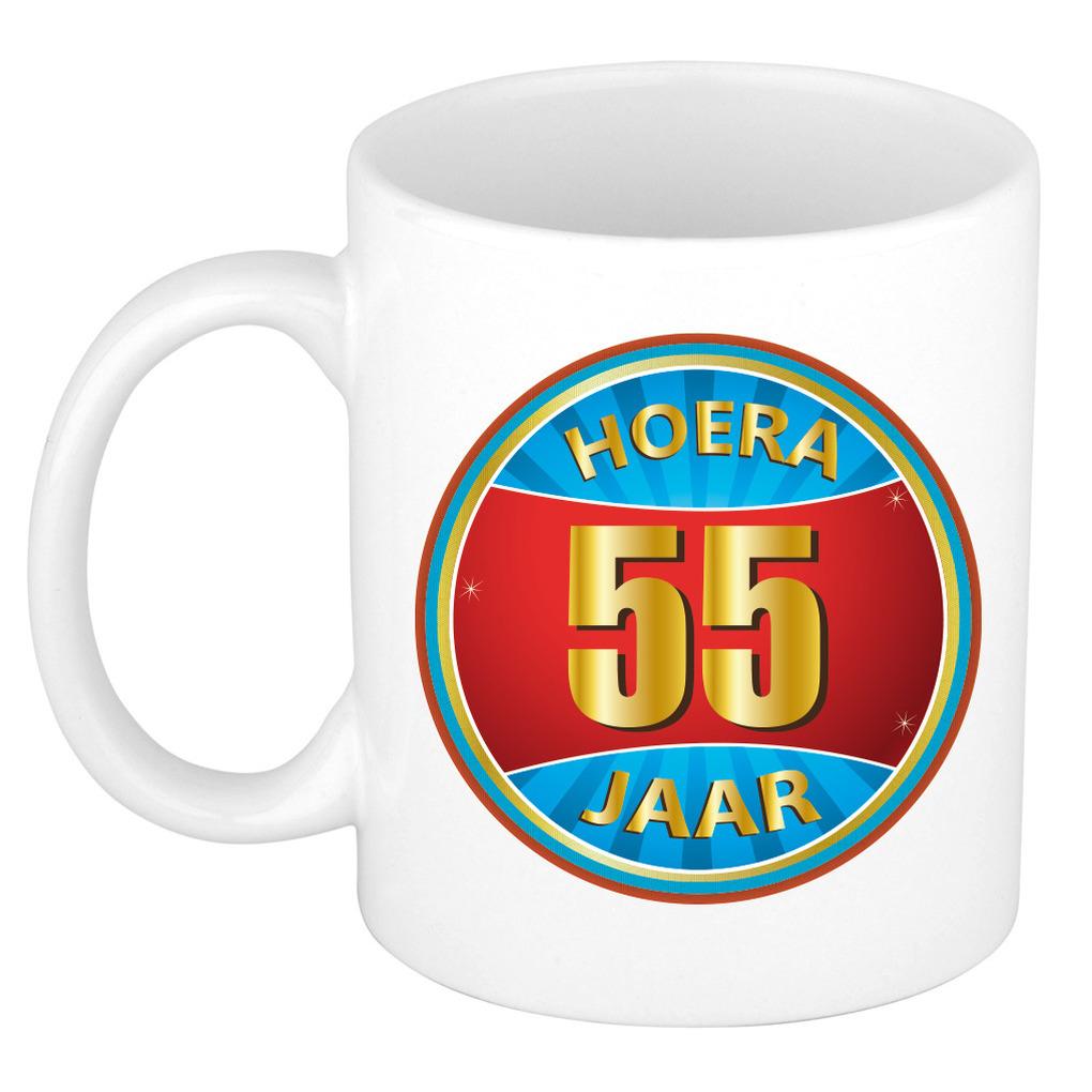 Verjaardag mok beker hoera 55 jaar verjaardagscadeau