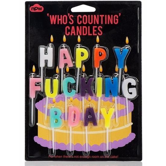 Verjaardagskaarsjes Happy Fucking Bday