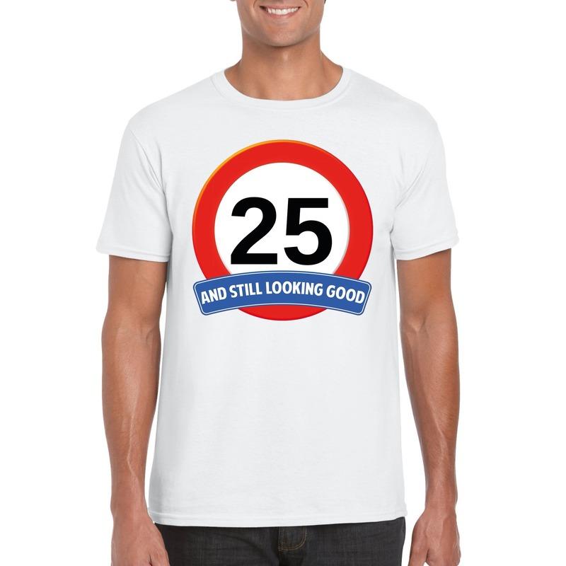 Verkeersbord 25 jaar t-shirt wit heren