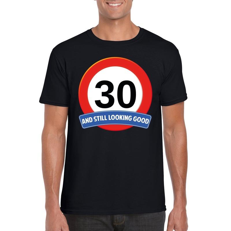 Verkeersbord 30 jaar t-shirt zwart heren