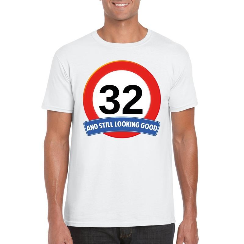 Verkeersbord 32 jaar t-shirt wit heren