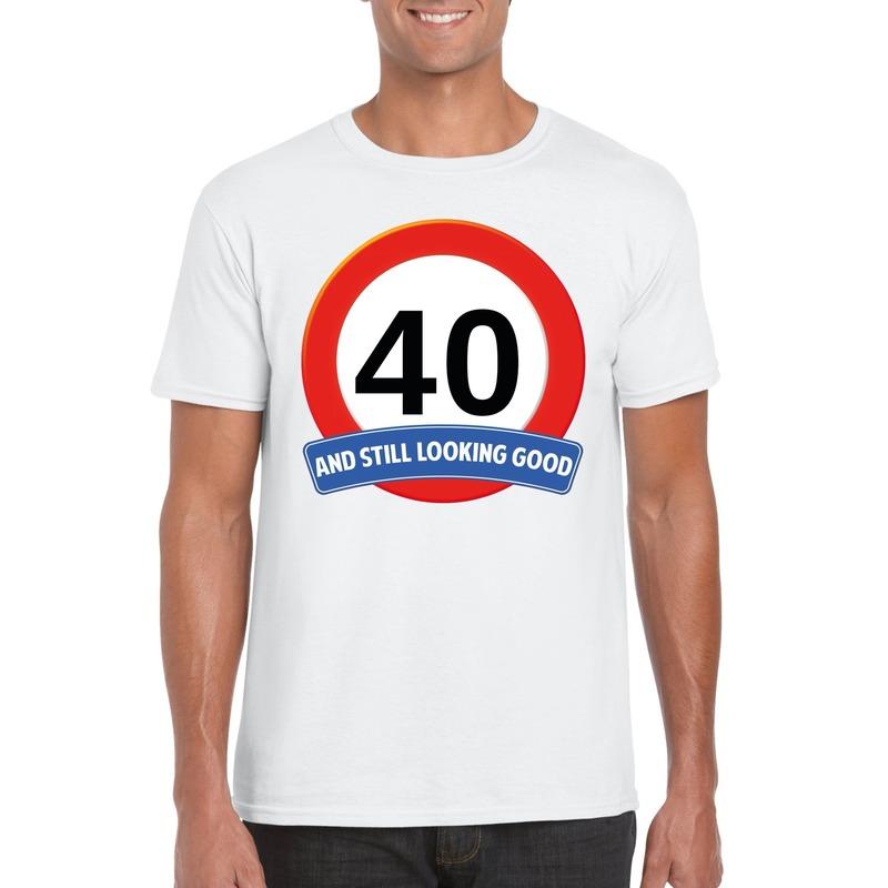 Verkeersbord 40 jaar t-shirt wit heren
