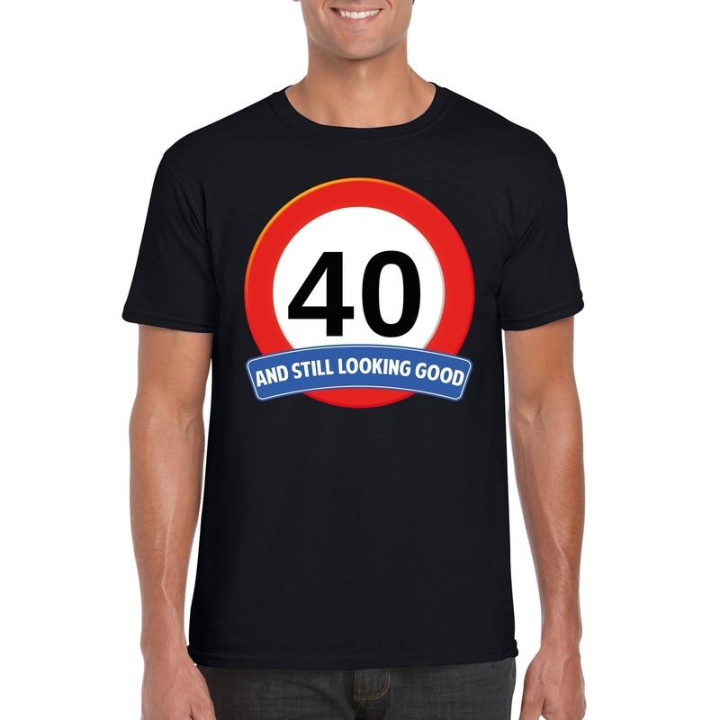 Verkeersbord 40 jaar t-shirt zwart heren