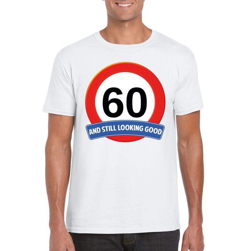 Verkeersbord 60 jaar t-shirt wit heren