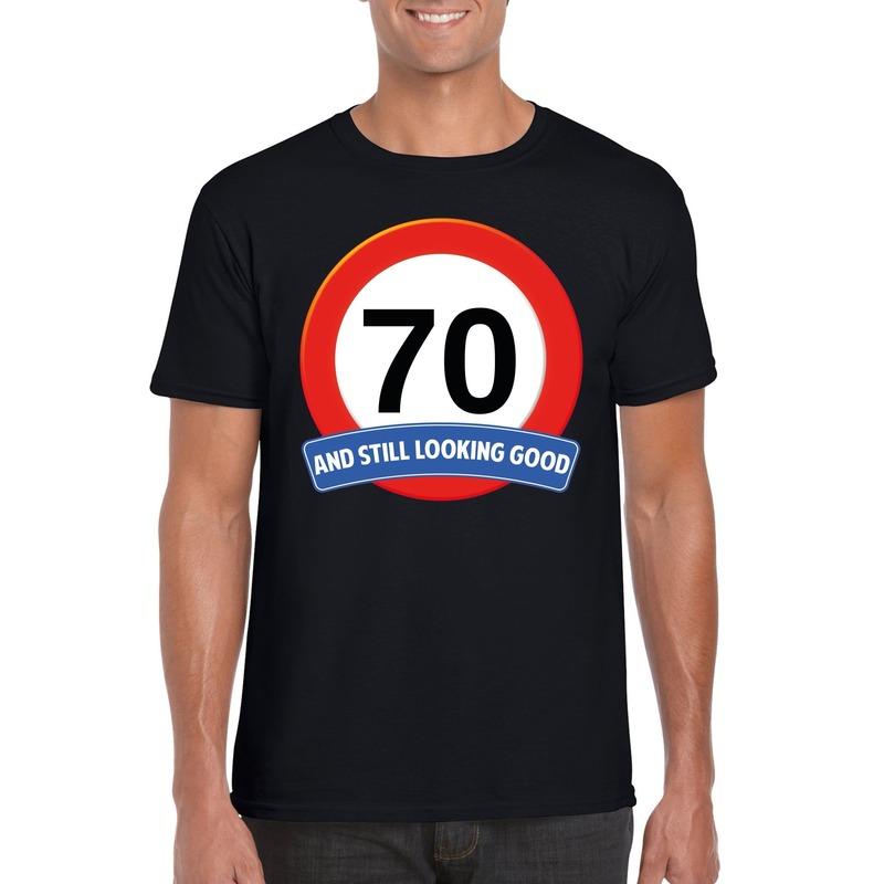 Verkeersbord 70 jaar t-shirt zwart heren