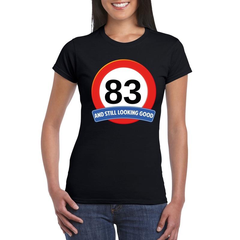 Verkeersbord 83 jaar t-shirt zwart dames