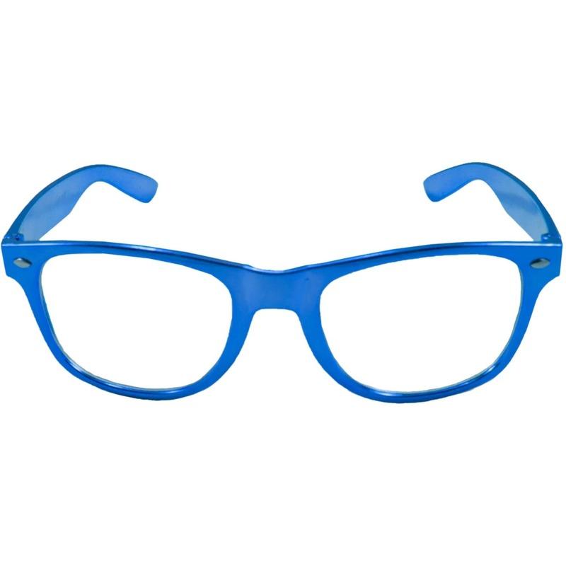 Verkleed bril metallic blauw