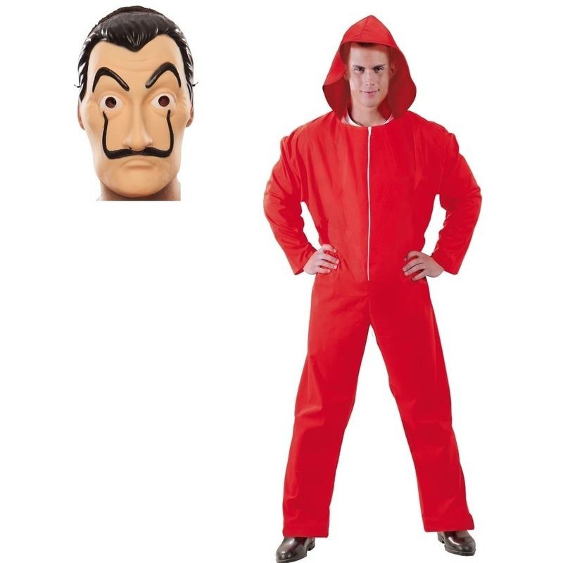 Verkleed set overall met masker La casa de Papel voor heren M