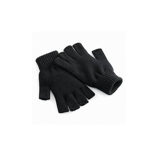 Vingerloze gebreide heren handschoenen in het zwart