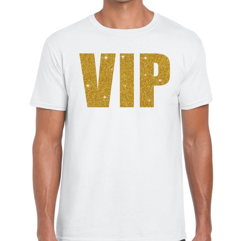 VIP goud glitter tekst t-shirt wit heren