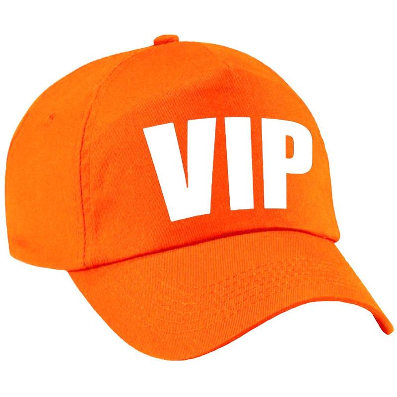VIP pet /cap oranje met witte bedrukking voor kinderen