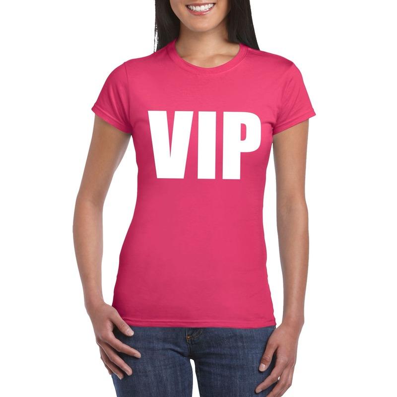 VIP tekst t-shirt roze dames