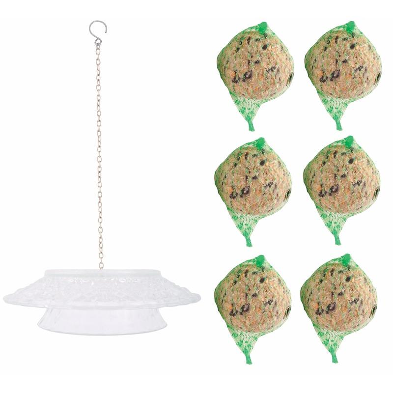 Vogelvoer decoratiehanger met vetbollen Transparant
