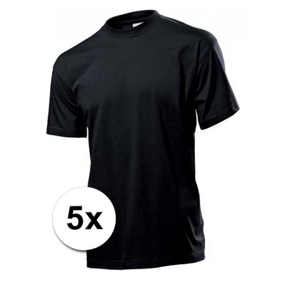 Voordeelpakket 5x zwarte t-shirts