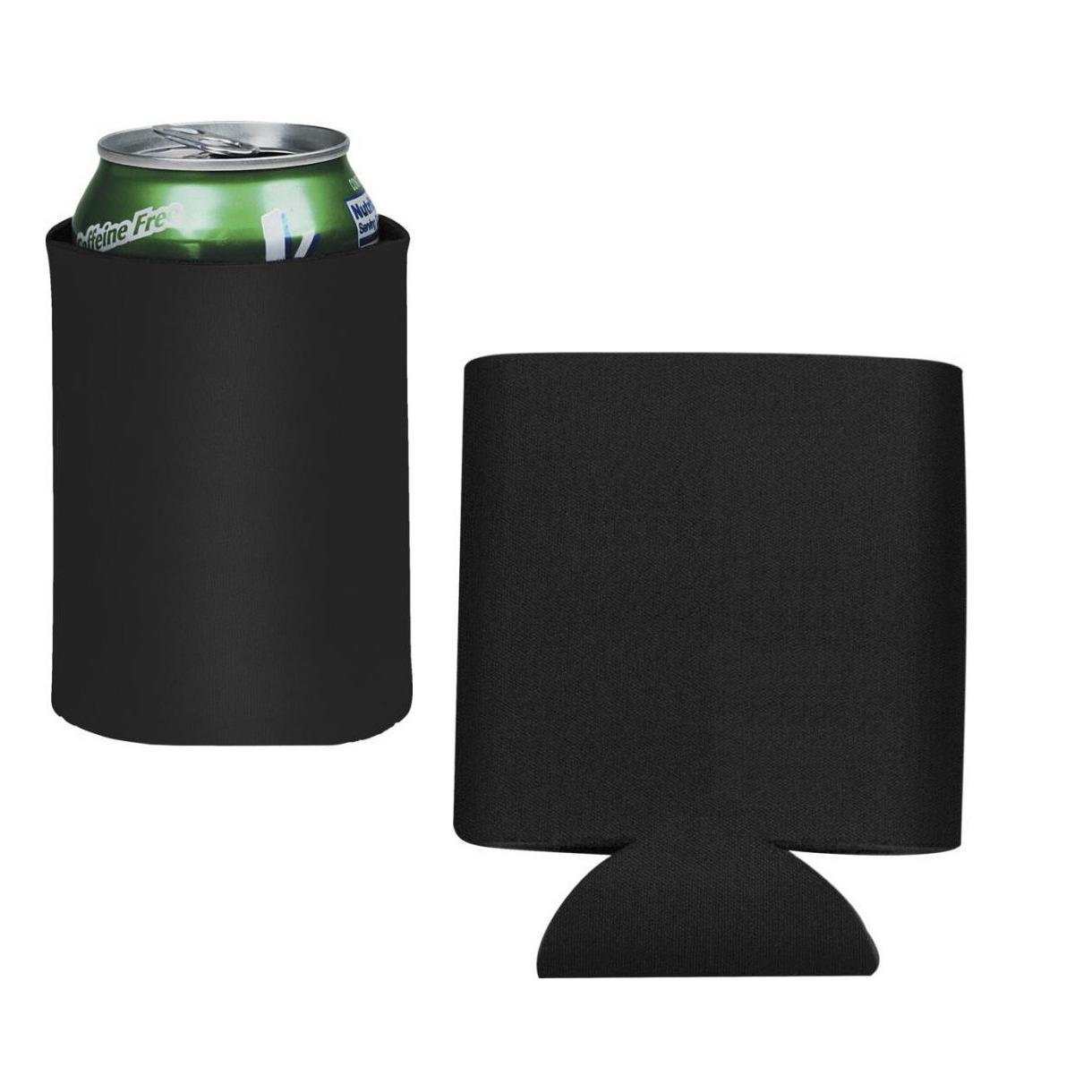 Voordeelset 10x Stuks opvouwbare zwarte blikjeskoelers/ koel hoesjes