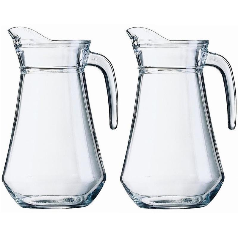 Voordeelset 4x glazen water karaffen/waterkannen 1 liter