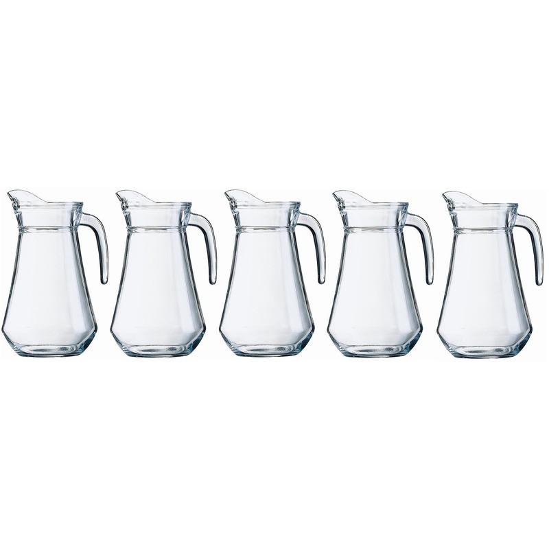 Voordeelset 5x glazen water karaffen/waterkannen 1.3 liter