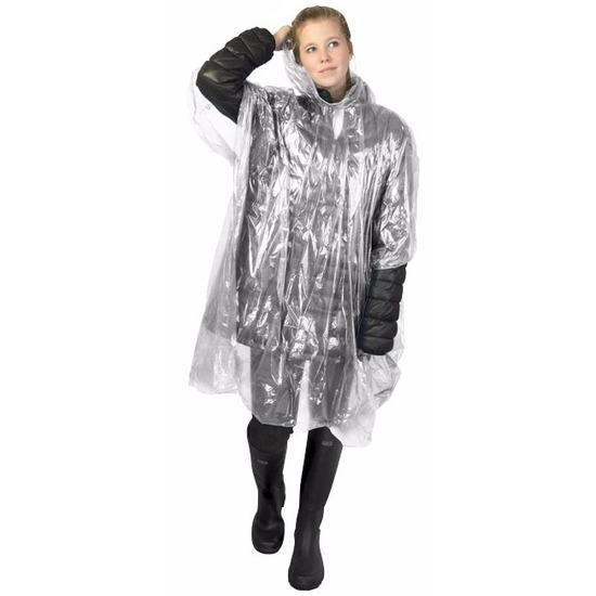 Voordeelset van 12x stuks wegwerp regenponcho transparant voor volwassenen