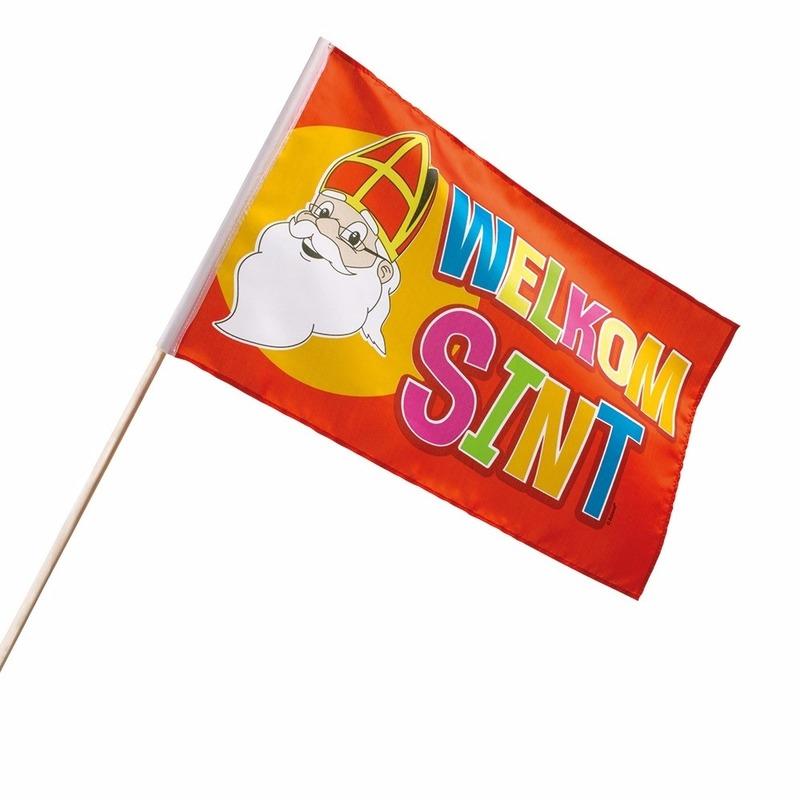 Voordeelset van 12x stuks welkom Sint zwaaivlaggetjes 30 x 45 cm