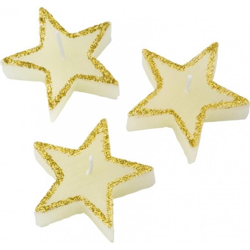 Voordeelset van 15x stuks sterren kaarsen cadeauset in geschenkdoosje