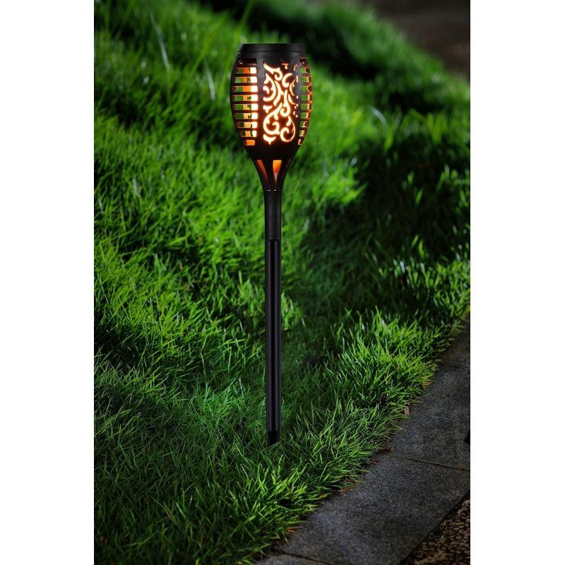 Voordeelset van 15x stuks tuinlamp solar fakkel - tuinverlichting met vlam effect 48,5 cm