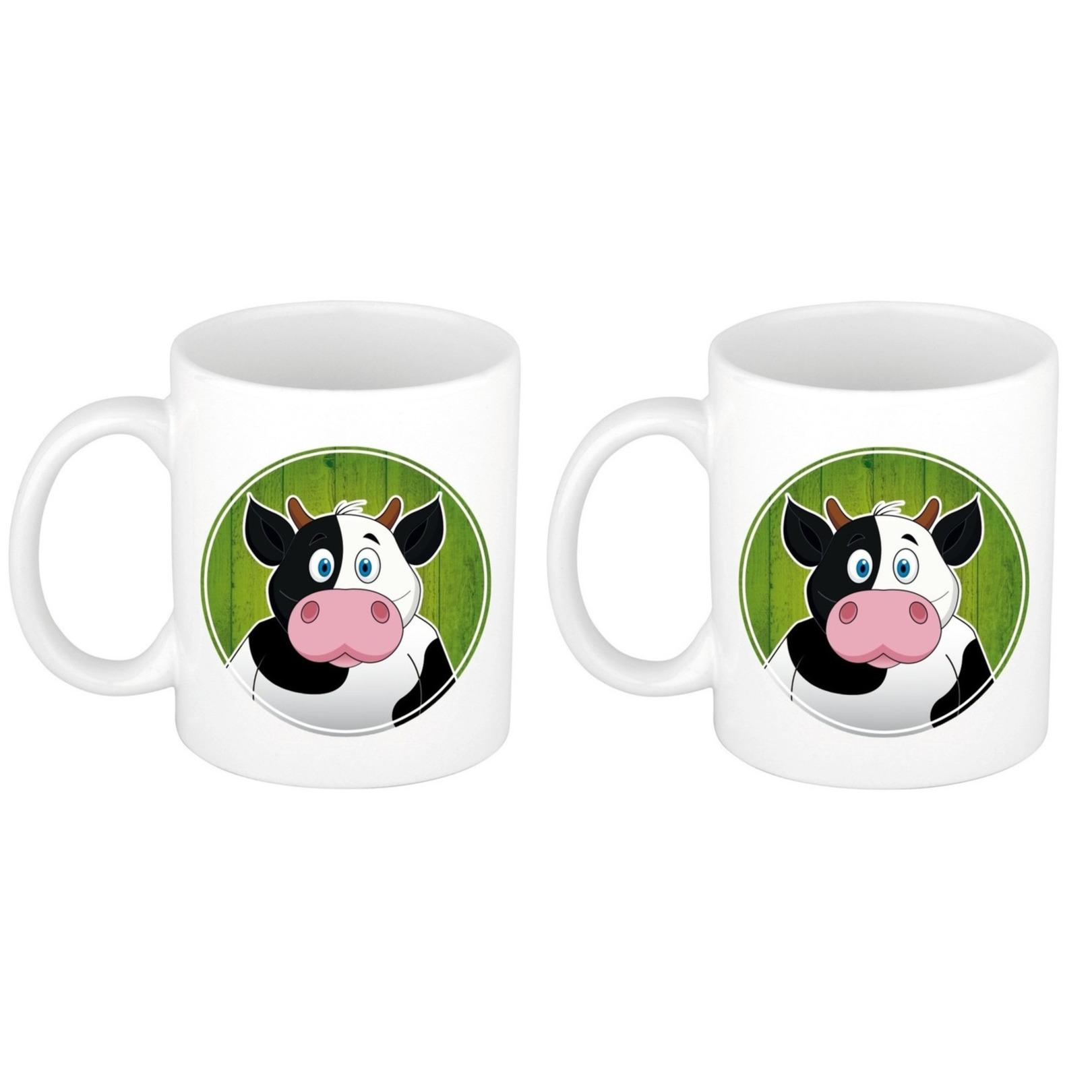 Voordeelset van 2x stuks koeien mokken - bekers voor kinderen 300 ml