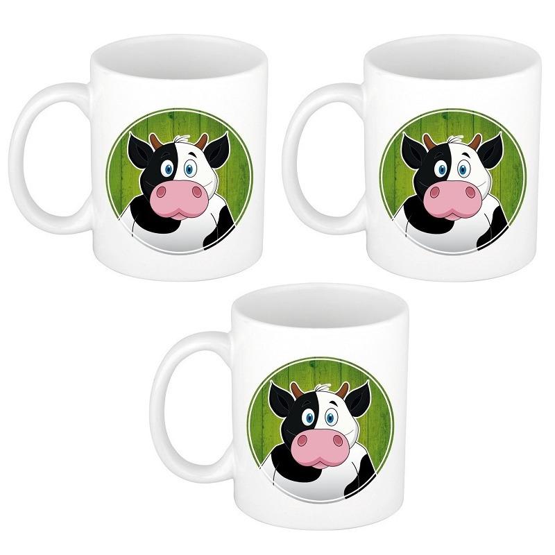 Voordeelset van 3x stuks koeien mokken - bekers voor kinderen 300 ml