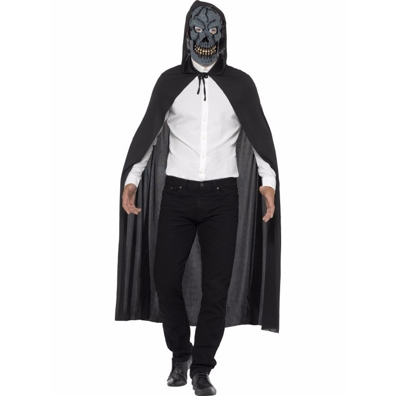 Voordelig Halloween kostuum cape en horror skelet masker