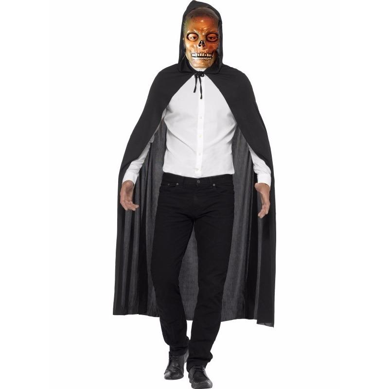 Voordelig Halloween kostuum cape en transparant skelet masker