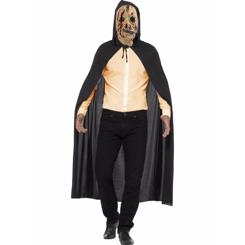 Voordelig Halloween kostuum zombie rits masker en cape