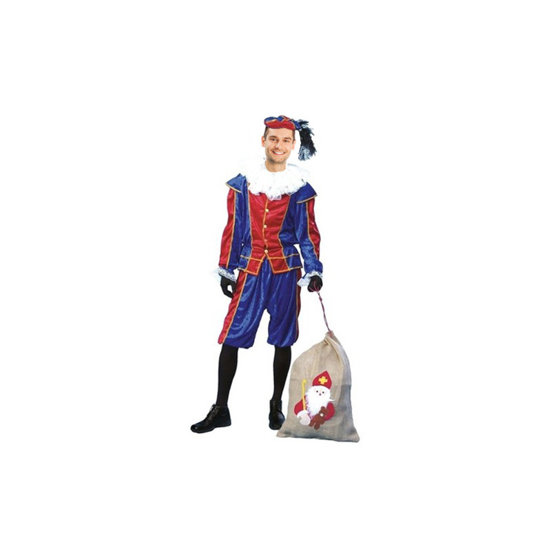 Voordelig roetveeg Pieten kostuum blauw/rood unisex